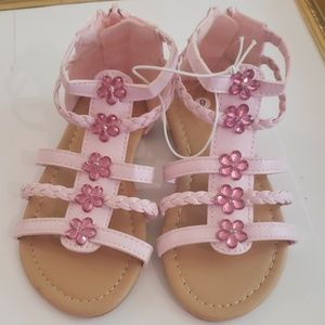 Shoes - NEW pink flower jewels bead sandals